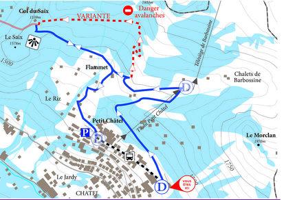 Snowshoe trail - Petit Châtel circuit