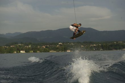 Wakeboard on lake
