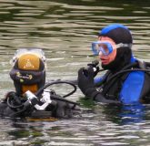 Scuba diving in the lake